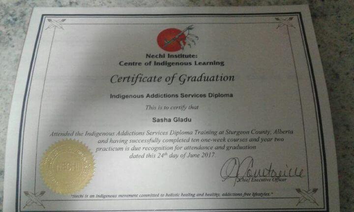 sasha gladu's certificate