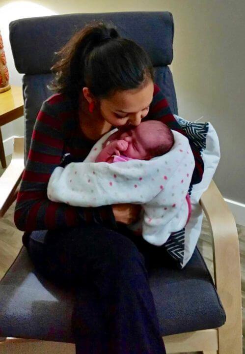 sasha gladu with her baby