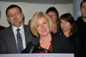 rachel notley speaking at press conference