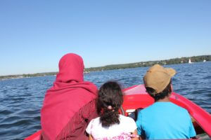 inas zeidan with family in boat