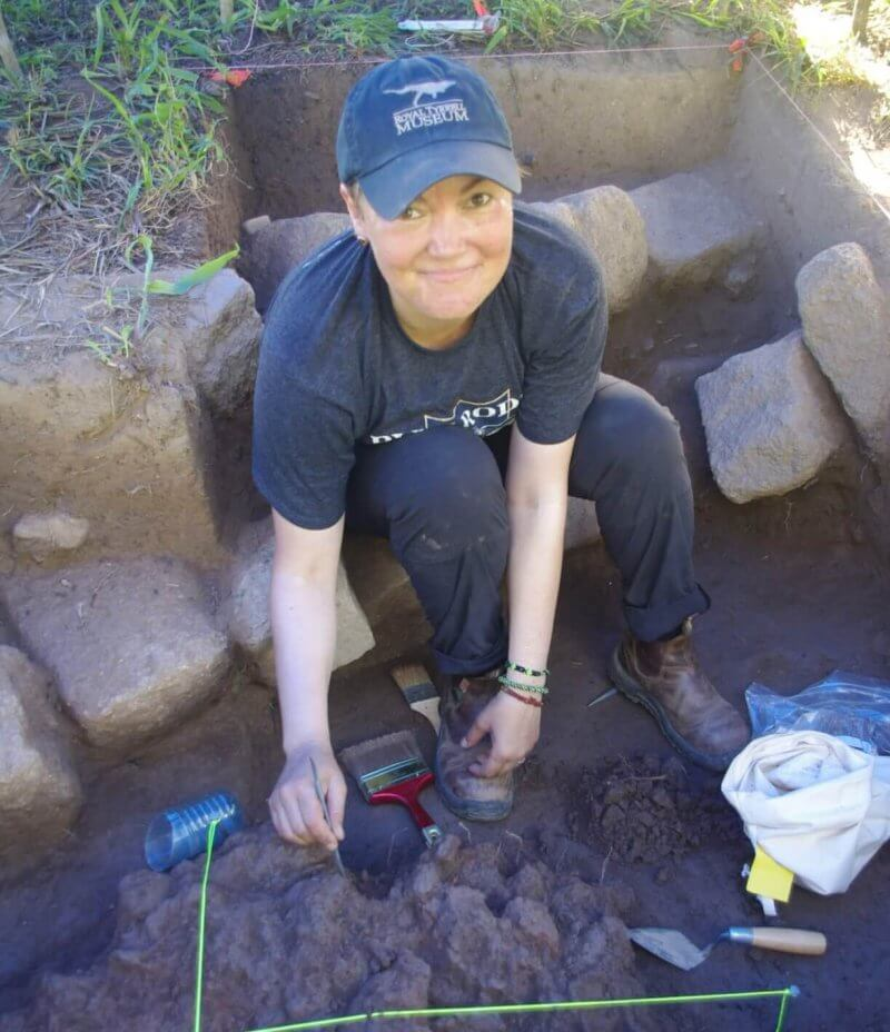 Dr. Meaghan Peuramaki-Brown working on an archeological site in Belize