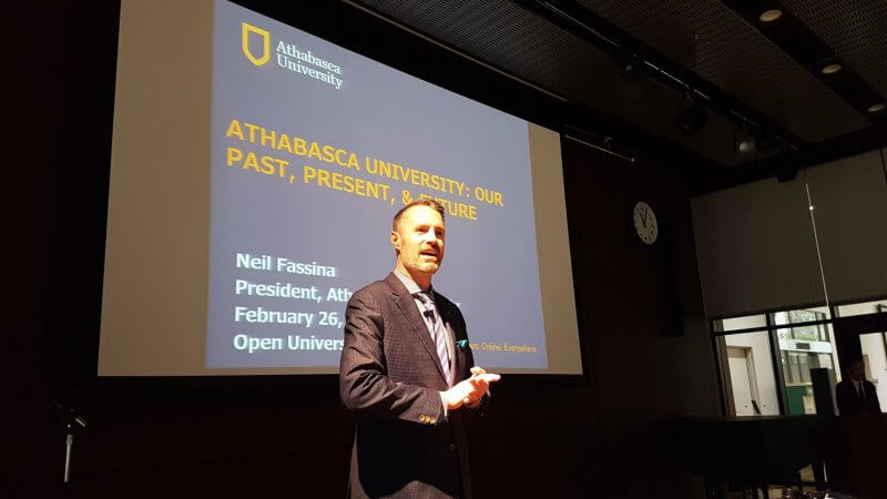 AU president Dr. Neil Fassina spoke to students, staff and faculty at the Open University of Japan on Feb. 26.