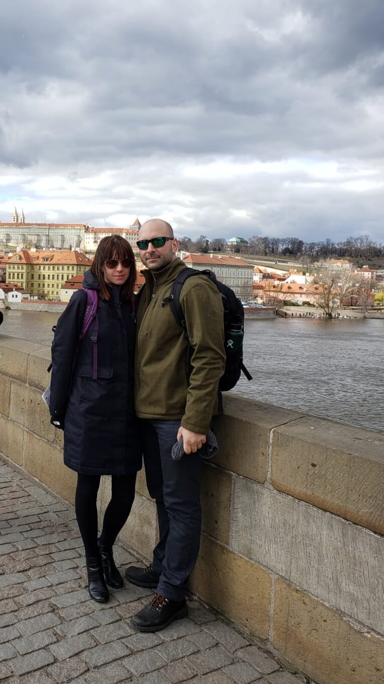 Kosta and Marta Tsoukalas, a husband and wife who both graduated from their respective programs at Athabasca University this year, celebrated with a one-month family vacation to Europe.