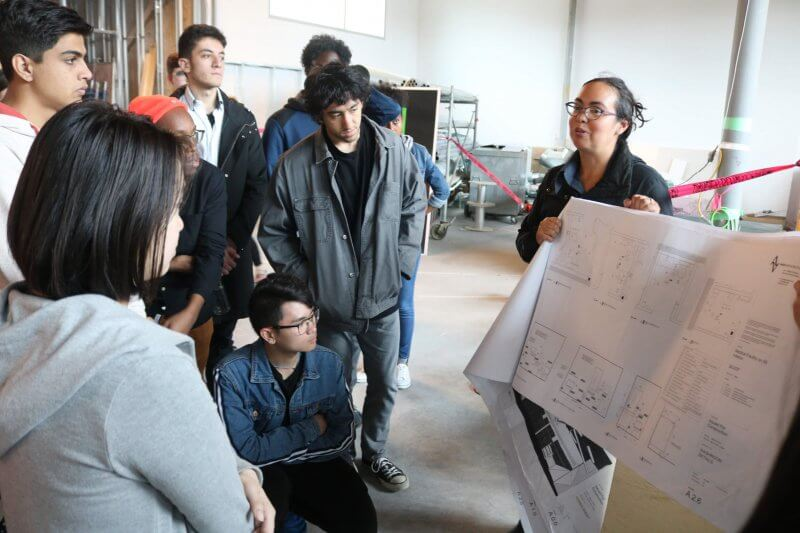 Cynthia Dovell, an architect and instructor with Athabasca University's architecture program, gave dual-credit students a first-hand look at a building she designed as part of a dual-credit course with high-school students.