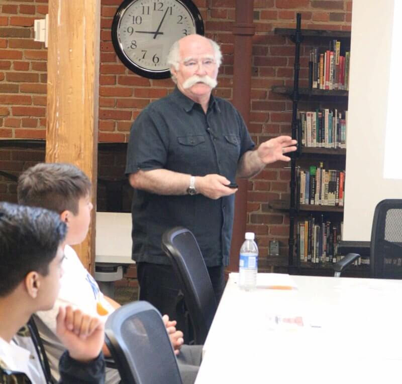 Architect Barry Johns speaks to students at Centre High as part of a dual-credit architecture fundamentals course.