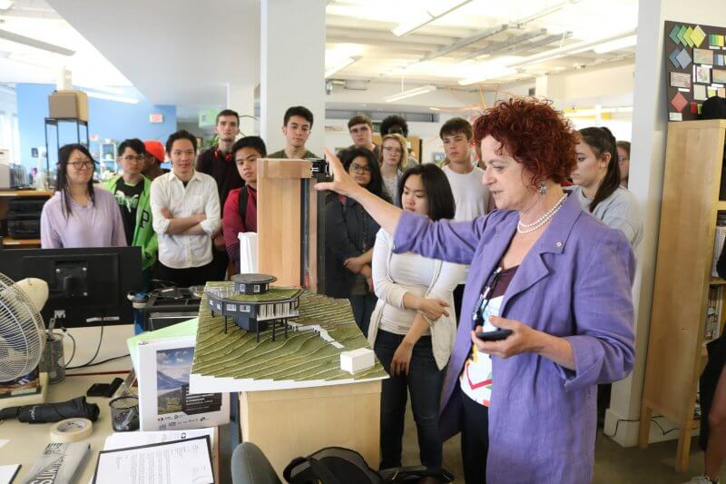Vivian Manasc, Principal with architecture firm Manasc Isaac and chair of AU's Board of Governors, gave students a tour of her downtown studio.