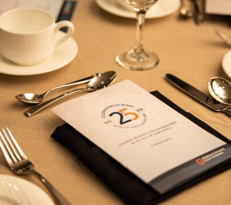 Place-setting at celebration of the world's first online MBA program Athabasca University