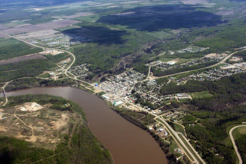 The Athabasca River Basin Image Bank has hundreds of aerial photos from one end of the basin to the other, including the Town of Athabasca pictured here.