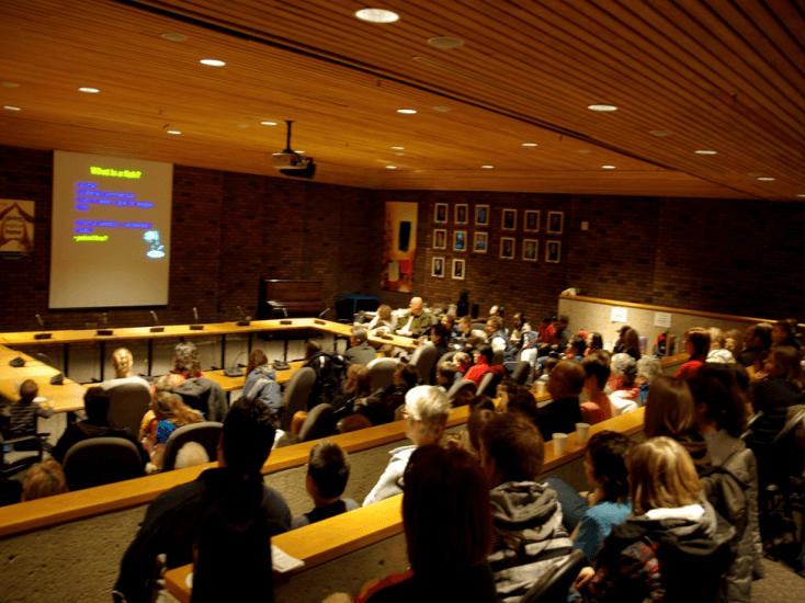 Audience in Athabasca University's Governing Council Chambers f or a Science Outreach – Athabasca presentation. Photo: B. MacMullin.