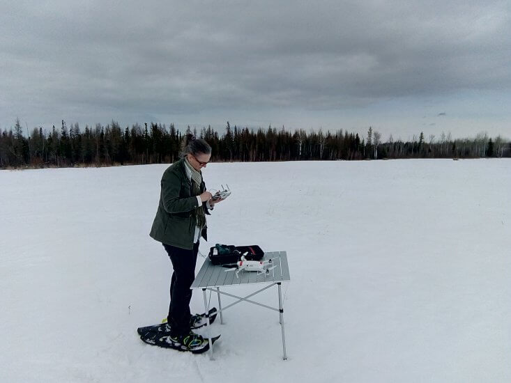 Dr. Frédérique Pivot uses remote sensing techniques, including unmanned aerial vehicles, to measure snow melt and water availability in the Rocky Mountains.