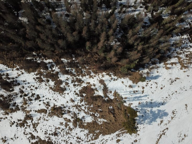 Aerial images like this one, taken using an unmanned aerial vehicles, help Athabasca University researcher Dr. Frédérique Pivot measure snow melt and water availability in the Rocky Mountains—a technique that could be replicated elsewhere.