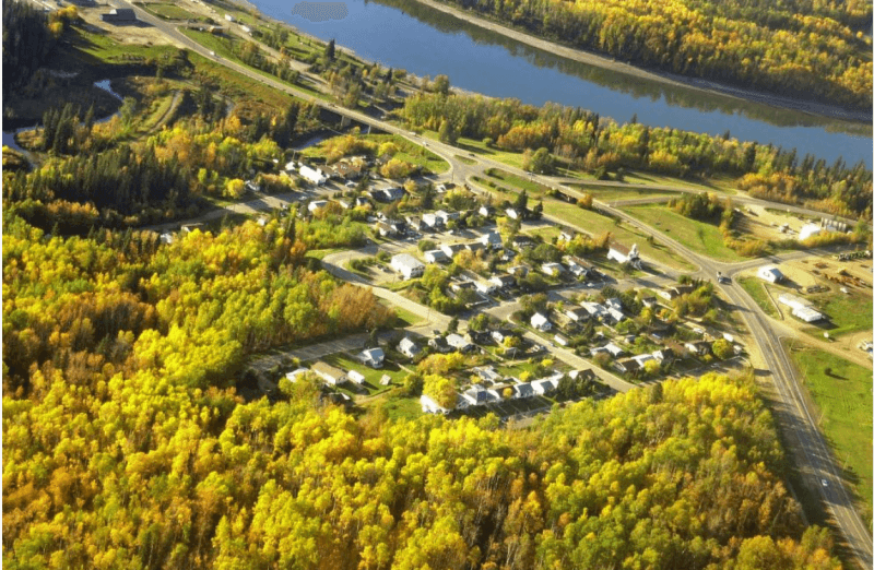The town of Athabasca, Alta., next to the Athabasca River in northern Alberta.