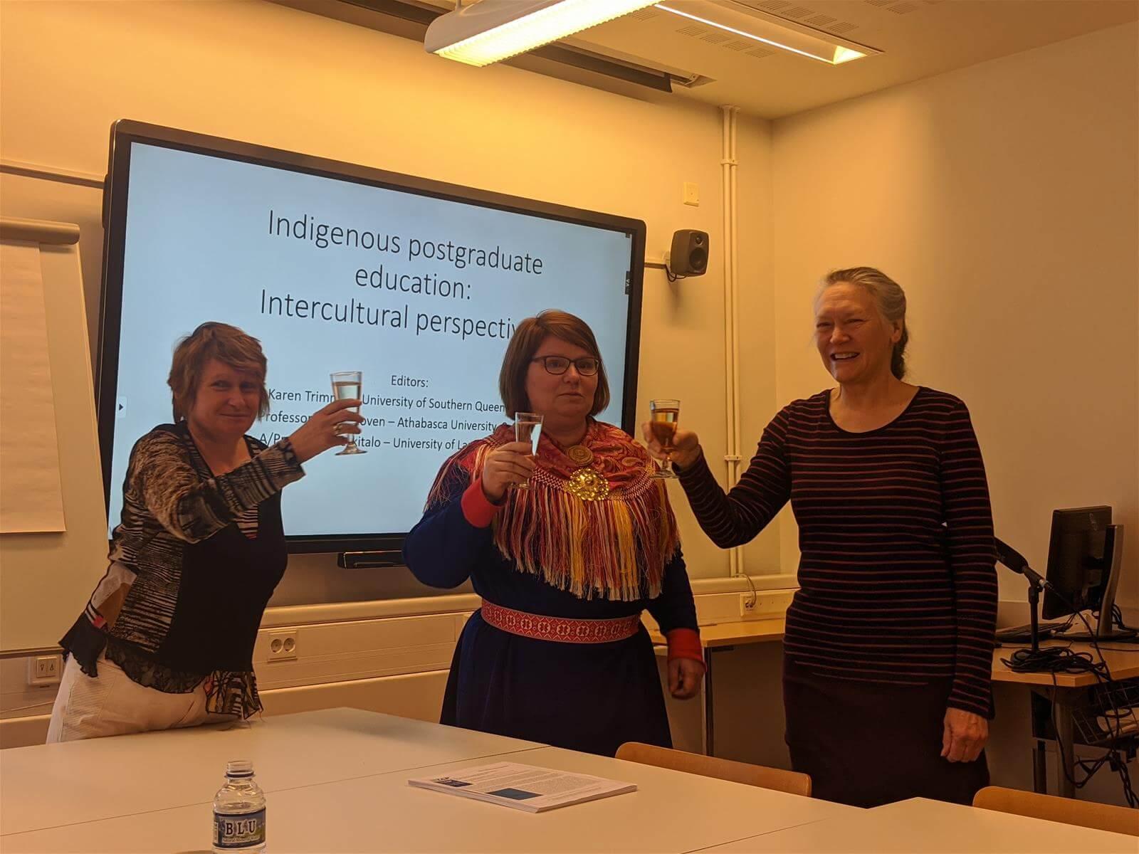 The editors Karen Trimmer, Pigga Keskitalo and Debra Hoven at the book launch.