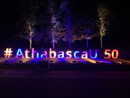 #AthabascaU50 sign in orange and blue