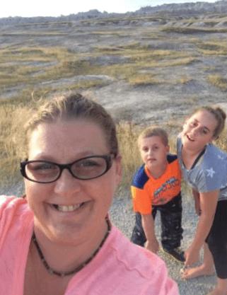 Angela Grainger and her kids in South Dakota