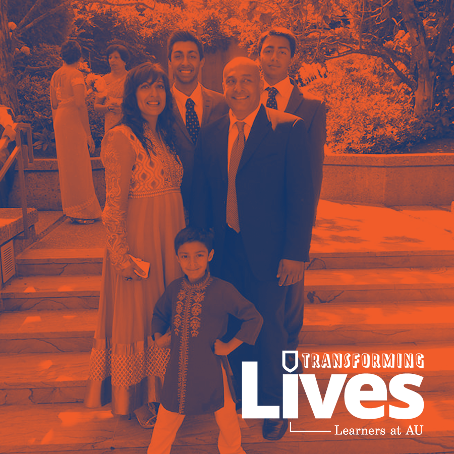 Photo of Nazira and her family with an orange filter