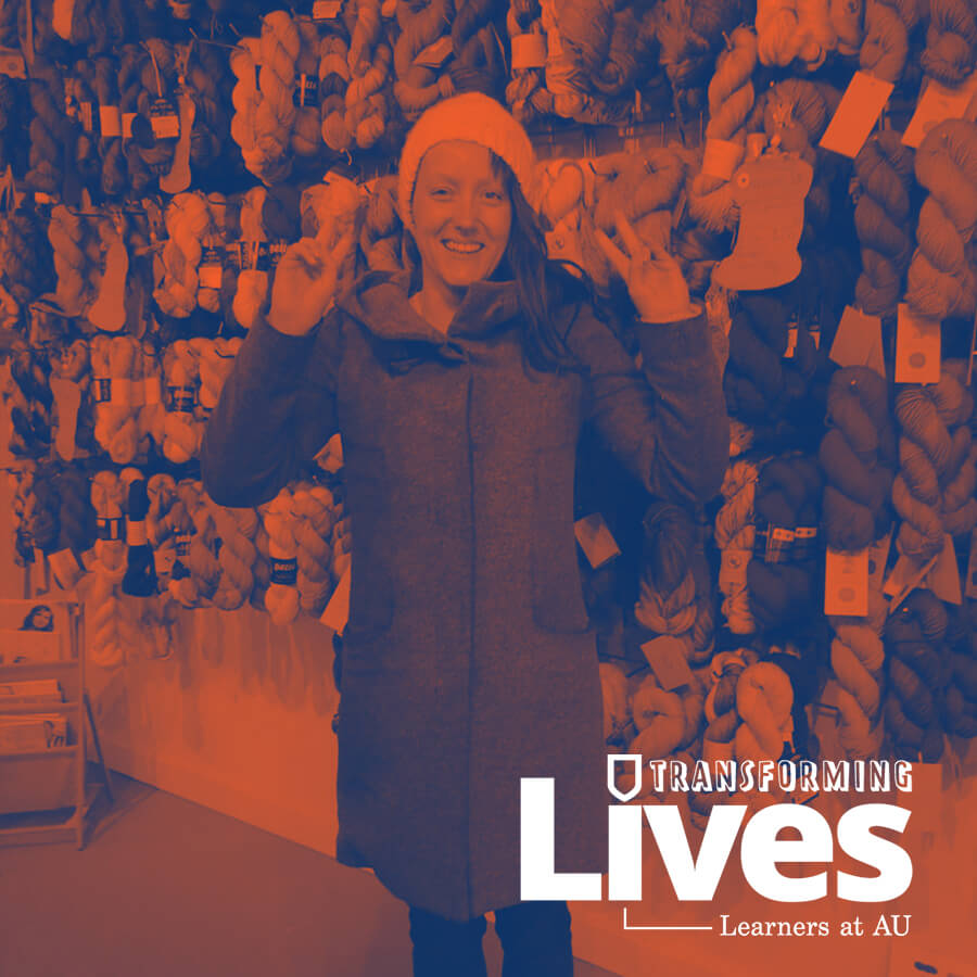 Leah Stienstra with a Transforming Lives blue and orange filter