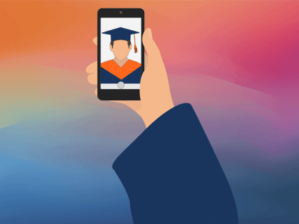 cartoon image of hand holding a cellphone with a photo of a selfie on the phone in graduation robes