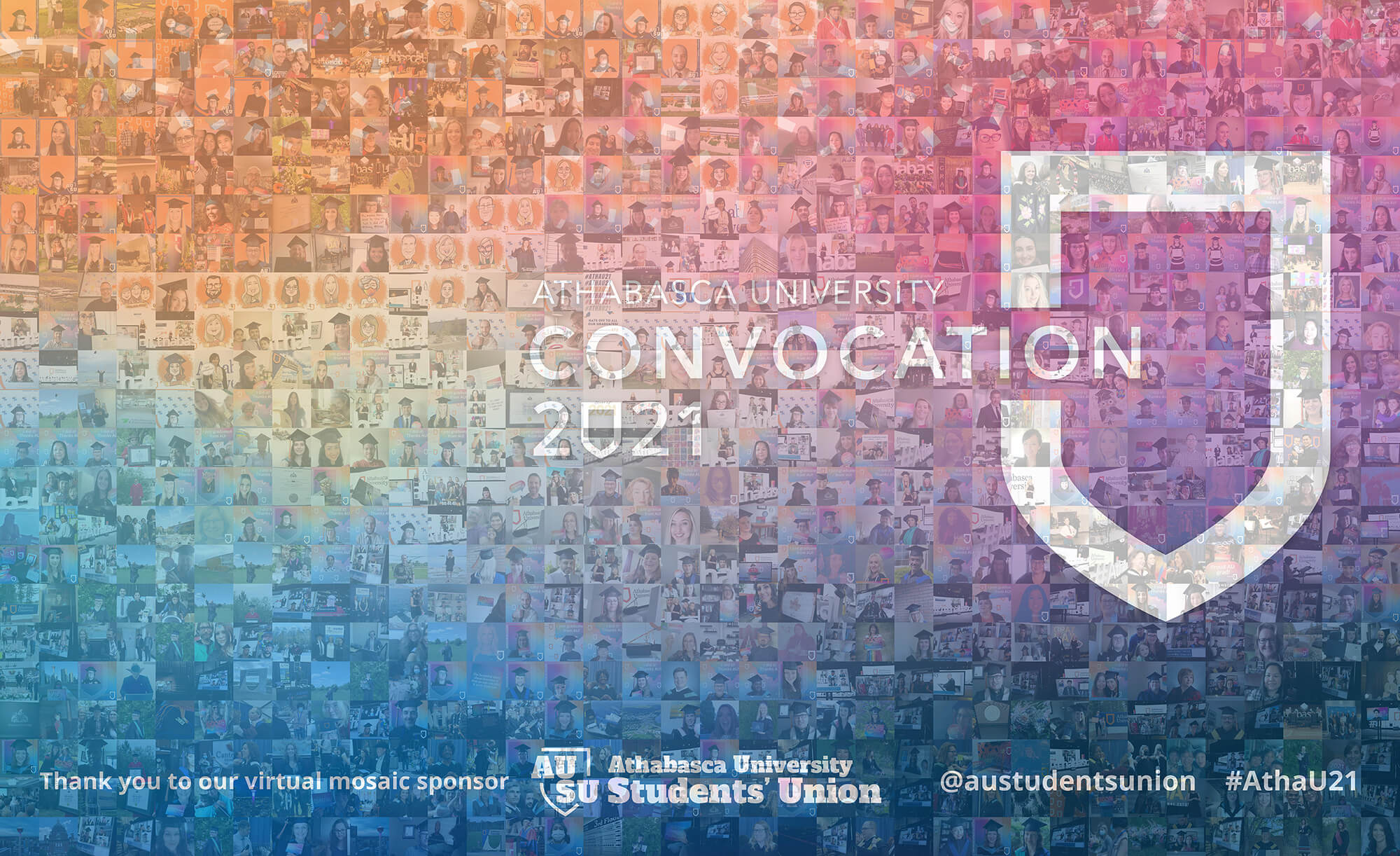 Mosaic image of AU Convocation 2021 made up of smaller pictures of AU's 2021 graduates