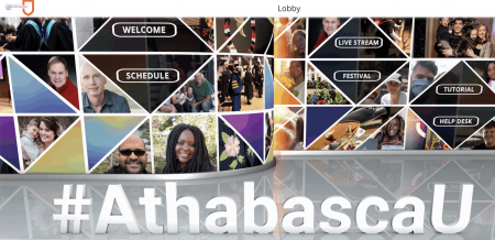 Images of different AU learners above the hashtag #AthabascaU with links to the different activities within the convocation platform