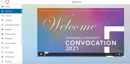 Screenshot of the welcome video that was available in the virtual convocation platform