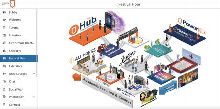 Festival booths on the convocation platform