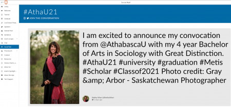 """Shelley Wiart social post that says, """"I am excited to announce my convocation from @AthabascaU with my 4 year Bachelor of Arts in Sociology with great distinction"""