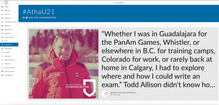 """Todd Allison's picture and a social capture that reads, """"Whether I was in Guadalajara for the PanAm Games, Whistler, or elsewhere in B.C. for training camps, Colorado for work, or rarely back at home in Calgary, I had to explore where and how I could write an exam. Todd Allison didn't know..."""""""